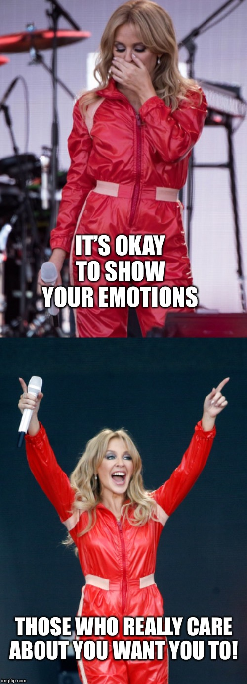 It's okay. | IT'S OKAY TO SHOW YOUR EMOTIONS THOSE WHO REALLY CARE ABOUT YOU WANT YOU TO! | image tagged in kylie crying 2,kylie cheering,positivity,positive,crying,emotions | made w/ Imgflip meme maker