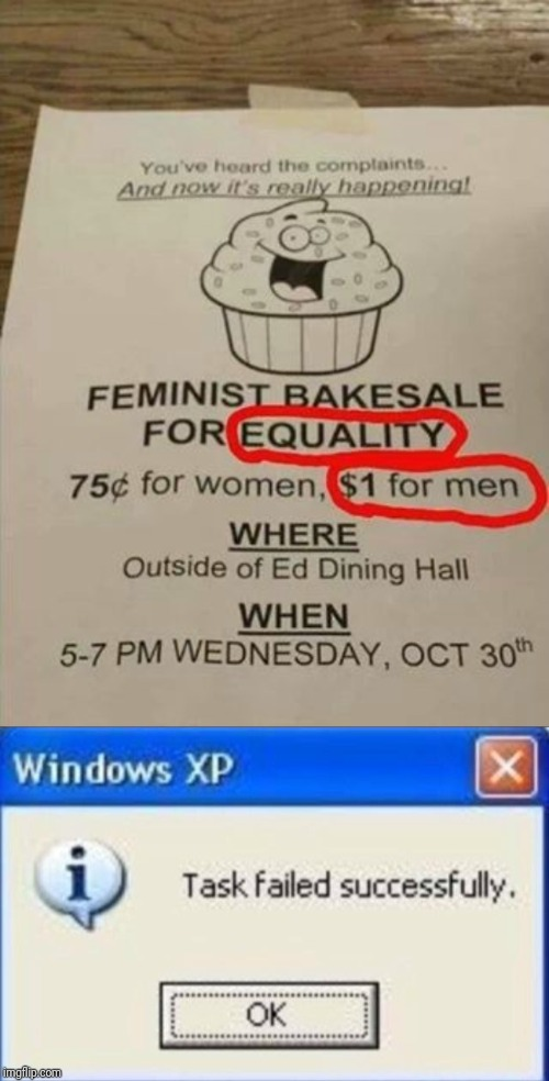 image tagged in feminism,task failed successfully,equality | made w/ Imgflip meme maker