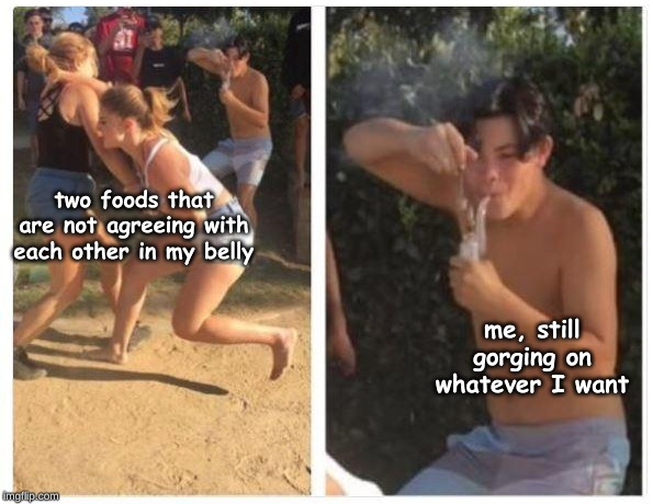 two foods that are not agreeing with each other in my belly; me, still gorging on whatever I want | image tagged in memes,life | made w/ Imgflip meme maker