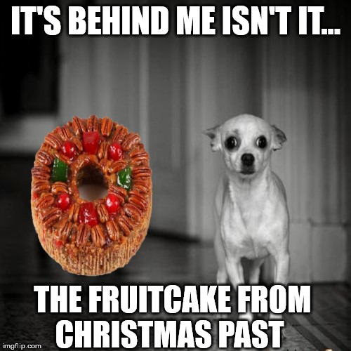 The Fruitcake that won't go away |  IT'S BEHIND ME ISN'T IT... THE FRUITCAKE FROM      CHRISTMAS PAST | image tagged in it's behind me isn't it,memes,christmas gifts,one does not simply,scared dog,go away | made w/ Imgflip meme maker