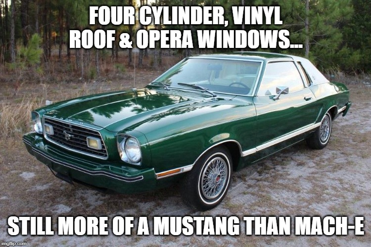 FOUR CYLINDER, VINYL ROOF & OPERA WINDOWS... STILL MORE OF A MUSTANG THAN MACH-E | made w/ Imgflip meme maker