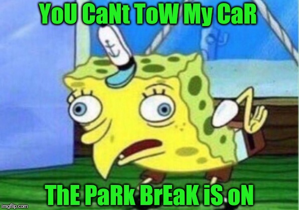 Mocking Spongebob | YoU CaNt ToW My CaR ThE PaRk BrEaK iS oN | image tagged in memes,mocking spongebob | made w/ Imgflip meme maker