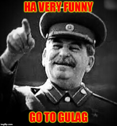 Stalin Says go to Gulag |  HA VERY FUNNY; GO TO GULAG | image tagged in stalin,gulag,onion | made w/ Imgflip meme maker