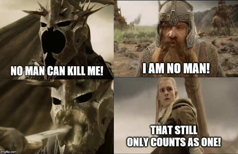 I AM NO MAN! THAT STILL ONLY COUNTS AS ONE! | image tagged in lotr,legolas,gimli,witch king | made w/ Imgflip meme maker