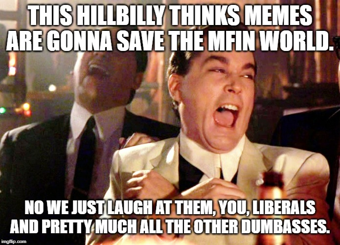 Good Fellas Hilarious Meme | THIS HILLBILLY THINKS MEMES ARE GONNA SAVE THE MFIN WORLD. NO WE JUST LAUGH AT THEM, YOU, LIBERALS AND PRETTY MUCH ALL THE OTHER DUMBASSES. | image tagged in memes,good fellas hilarious | made w/ Imgflip meme maker