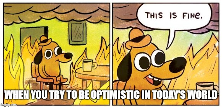 This Is Fine |  WHEN YOU TRY TO BE OPTIMISTIC IN TODAY'S WORLD | image tagged in this is fine dog | made w/ Imgflip meme maker