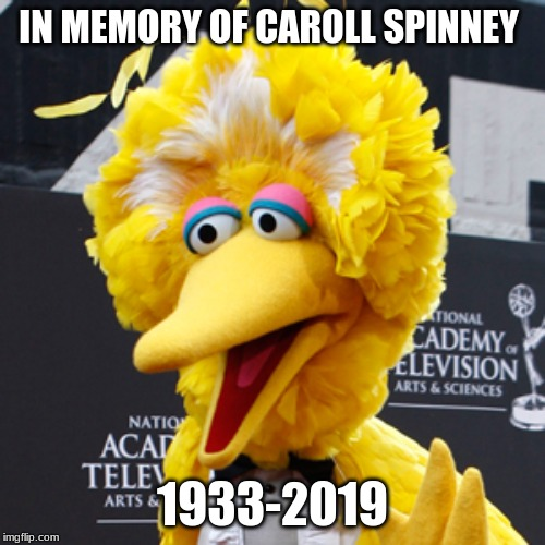 Rest in Peace to the original puppeteer of Big Bird | IN MEMORY OF CAROLL SPINNEY 1933-2019 | image tagged in memes,big bird,rip,carol,spinney,memorial | made w/ Imgflip meme maker