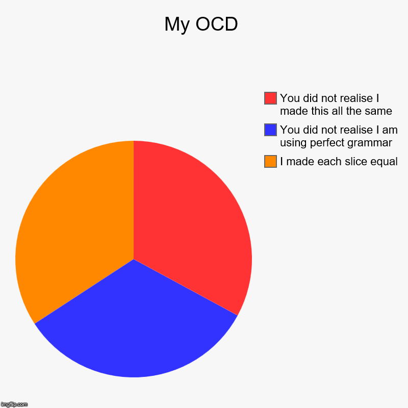 My OCD | I made each slice equal, You did not realise I am using perfect grammar, You did not realise I made this all the same | image tagged in charts,pie charts | made w/ Imgflip chart maker