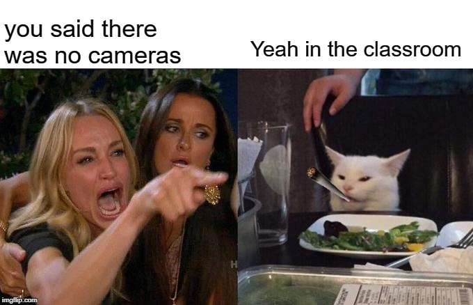 Woman Yelling At Cat Meme |  you said there was no cameras; Yeah in the classroom | image tagged in memes,woman yelling at cat | made w/ Imgflip meme maker