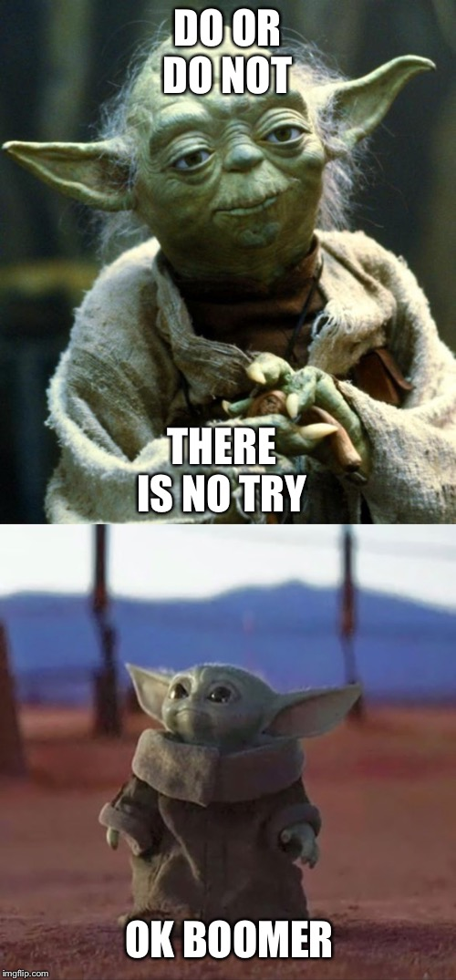 DO OR DO NOT; THERE IS NO TRY; OK BOOMER | image tagged in memes,star wars yoda,baby yoda | made w/ Imgflip meme maker