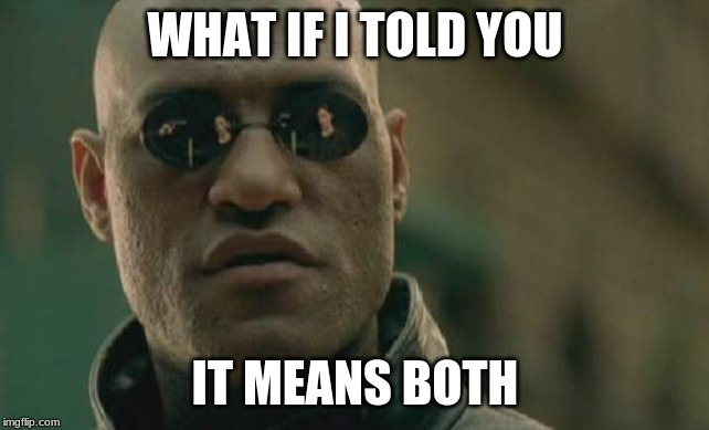Matrix Morpheus Meme | WHAT IF I TOLD YOU IT MEANS BOTH | image tagged in memes,matrix morpheus | made w/ Imgflip meme maker