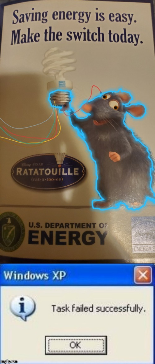 One of The lightbulb wires are broken | image tagged in task failed successfully,ratatouille,the wire,light bulb | made w/ Imgflip meme maker