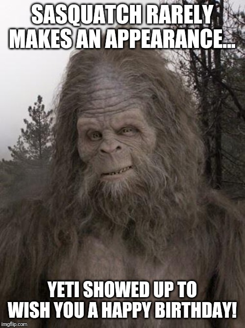 Sasquatch |  SASQUATCH RARELY MAKES AN APPEARANCE... YETI SHOWED UP TO WISH YOU A HAPPY BIRTHDAY! | image tagged in sasquatch | made w/ Imgflip meme maker