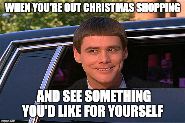WHEN YOU'RE OUT CHRISTMAS SHOPPING; AND SEE SOMETHING YOU'D LIKE FOR YOURSELF | image tagged in lloyd christmas limo | made w/ Imgflip meme maker