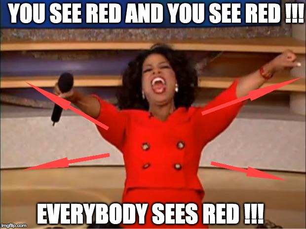 Oprah You Get A Meme |  YOU SEE RED AND YOU SEE RED !!! EVERYBODY SEES RED !!! | image tagged in memes,oprah you get a | made w/ Imgflip meme maker