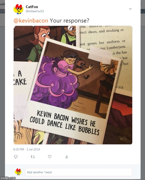 I never got a response | image tagged in lumberjanes,raccoon,dancing,comic book,kevin bacon | made w/ Imgflip meme maker