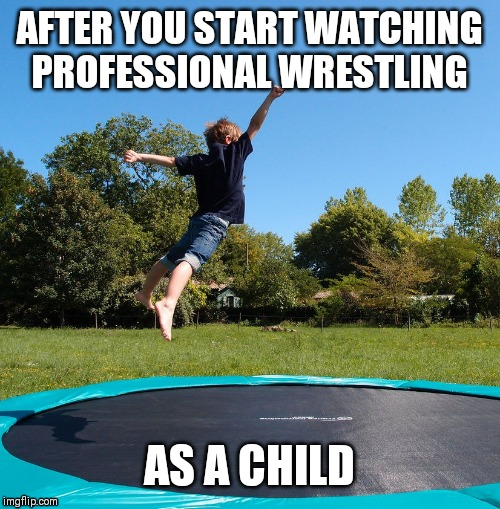 Pulling a stunt |  AFTER YOU START WATCHING PROFESSIONAL WRESTLING; AS A CHILD | image tagged in trampoline | made w/ Imgflip meme maker
