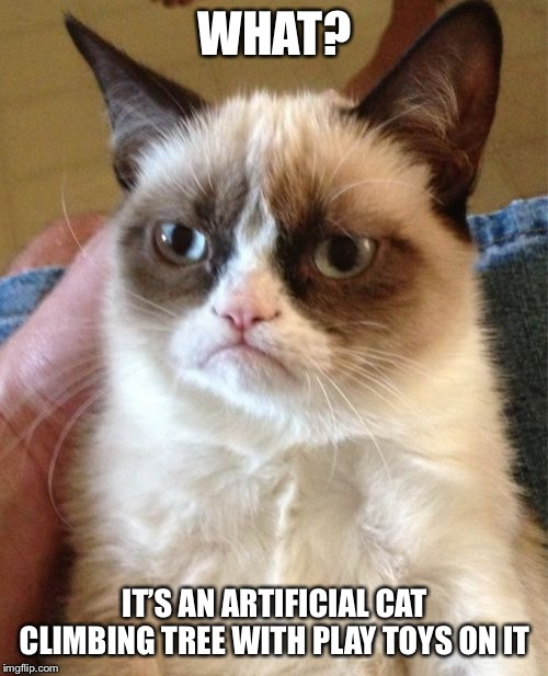 Grumpy Cat Meme | WHAT? IT'S AN ARTIFICIAL CAT CLIMBING TREE WITH PLAY TOYS ON IT | image tagged in memes,grumpy cat | made w/ Imgflip meme maker