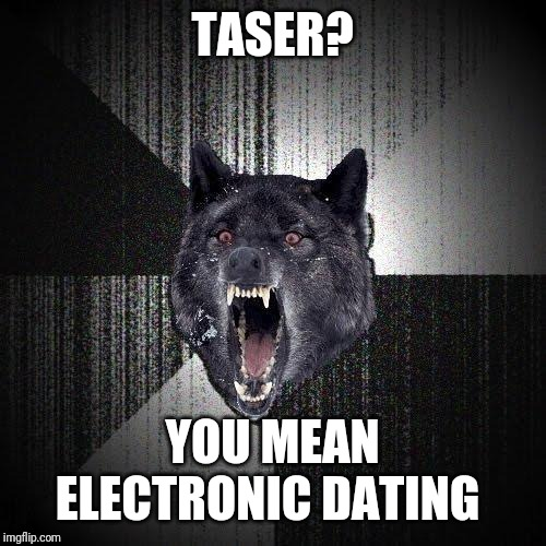 Insanity Wolf | TASER? YOU MEAN ELECTRONIC DATING | image tagged in memes,insanity wolf | made w/ Imgflip meme maker