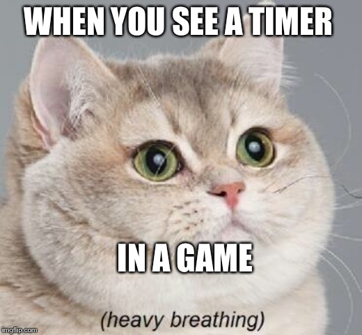 Heavy Breathing Cat | WHEN YOU SEE A TIMER IN A GAME | image tagged in memes,heavy breathing cat | made w/ Imgflip meme maker