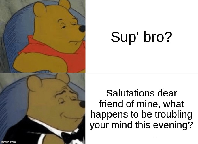Tuxedo Winnie The Pooh Meme | Sup' bro? Salutations dear friend of mine, what happens to be troubling your mind this evening? | image tagged in memes,tuxedo winnie the pooh | made w/ Imgflip meme maker
