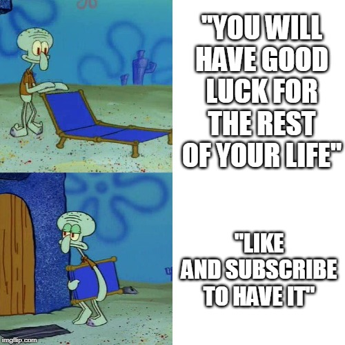 "Squidward chair | ""YOU WILL HAVE GOOD LUCK FOR THE REST OF YOUR LIFE"" ""LIKE AND SUBSCRIBE TO HAVE IT"" 