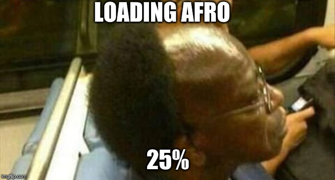 Afro |  LOADING AFRO; 25% | image tagged in funny,hilarious | made w/ Imgflip meme maker