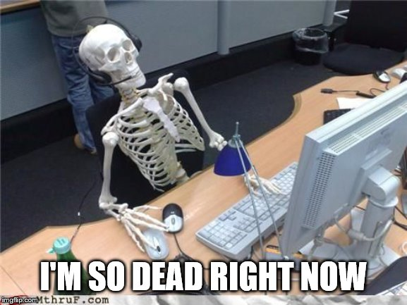 Skeleton Computer | I'M SO DEAD RIGHT NOW | image tagged in skeleton computer | made w/ Imgflip meme maker