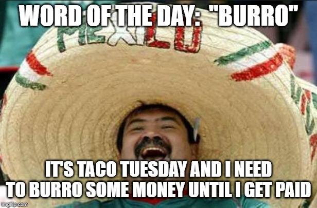 "mexican word of the day | WORD OF THE DAY:  ""BURRO"" IT'S TACO TUESDAY AND I NEED TO BURRO SOME MONEY UNTIL I GET PAID 