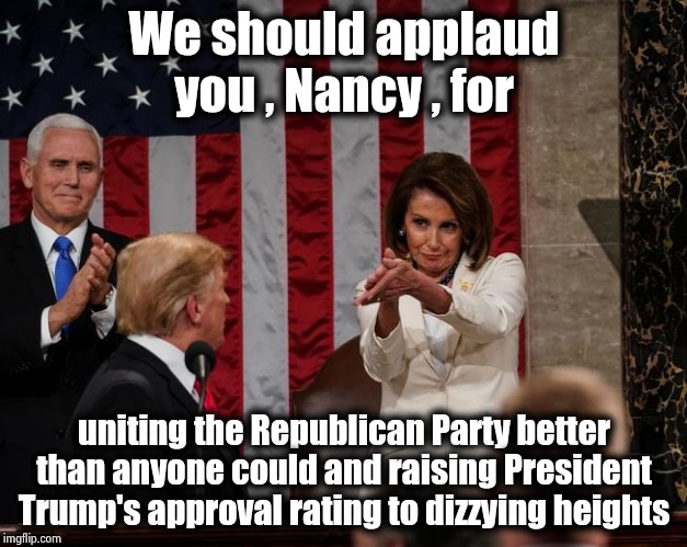 She will be remembered forever |  We should applaud you , Nancy , for; uniting the Republican Party better than anyone could and raising President Trump's approval rating to dizzying heights | image tagged in nancy pelosi clap,destruction,democratic party,highway to hell,party of hate,useless | made w/ Imgflip meme maker