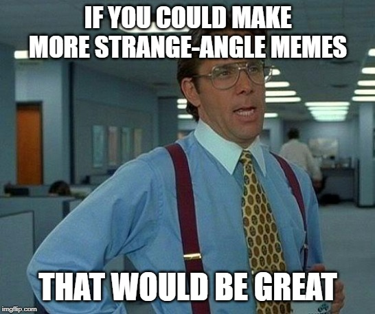 IF YOU COULD MAKE MORE STRANGE-ANGLE MEMES THAT WOULD BE GREAT | image tagged in memes,that would be great | made w/ Imgflip meme maker