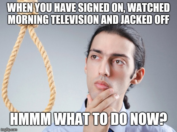 noose | WHEN YOU HAVE SIGNED ON, WATCHED MORNING TELEVISION AND JACKED OFF HMMM WHAT TO DO NOW? | image tagged in noose | made w/ Imgflip meme maker