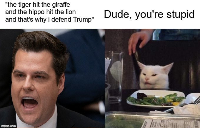 "Smudge tells on Gaetz |  ""the tiger hit the giraffe and the hippo hit the lion and that's why i defend Trump""; Dude, you're stupid 