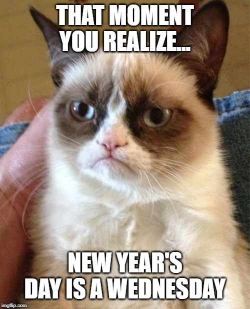 Grumpy Cat | THAT MOMENT YOU REALIZE... NEW YEAR'S DAY IS A WEDNESDAY | image tagged in memes,grumpy cat | made w/ Imgflip meme maker