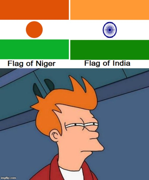 image tagged in memes,futurama fry,niger,india,flag,powermetalhead | made w/ Imgflip meme maker