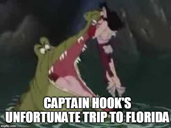 It Really Happened |  CAPTAIN HOOK'S UNFORTUNATE TRIP TO FLORIDA | image tagged in captain hook,crocdile,florida,misfortune | made w/ Imgflip meme maker