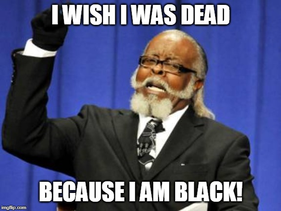 a | I WISH I WAS DEAD BECAUSE I AM BLACK! | image tagged in memes,too damn high,jk rowling,brace yourselves x is coming,y'all got any more of that,the walking dead | made w/ Imgflip meme maker