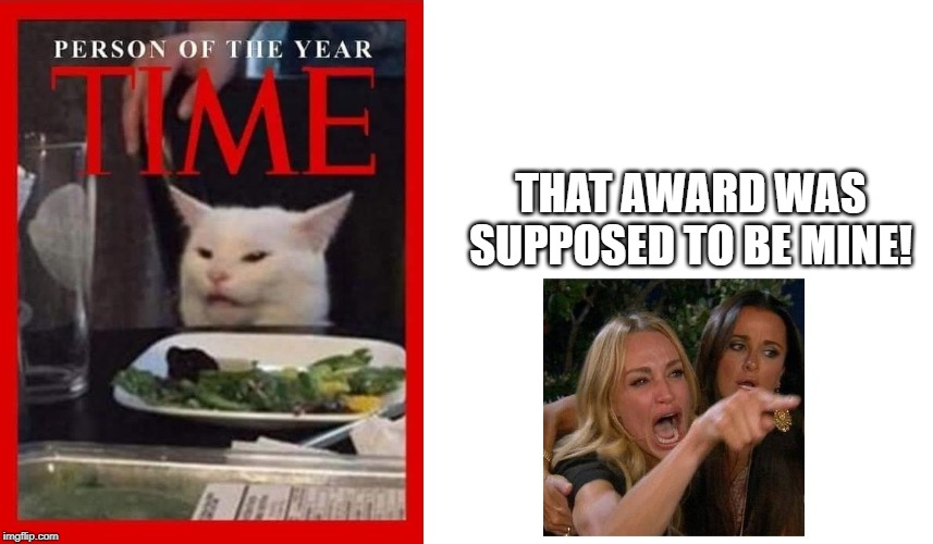 The 'Time Award of the Year' goes to.... |  THAT AWARD WAS SUPPOSED TO BE MINE! | image tagged in woman yelling at cat,cat,time,time magazine person of the year,award | made w/ Imgflip meme maker