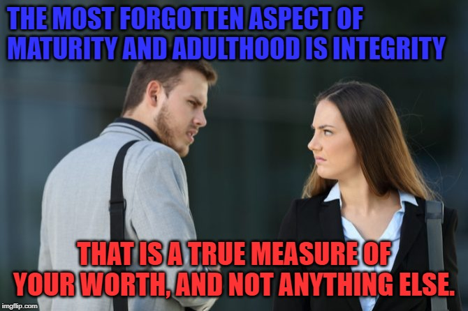 Character.  And I don't mean Fictional Persona. | THE MOST FORGOTTEN ASPECT OF MATURITY AND ADULTHOOD IS INTEGRITY THAT IS A TRUE MEASURE OF YOUR WORTH, AND NOT ANYTHING ELSE. | image tagged in man woman hate,adulting,men,women,character,memes | made w/ Imgflip meme maker