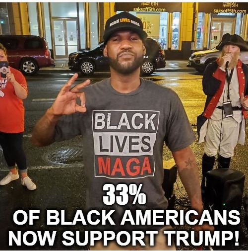 Black Lives MAGA! |  33%; OF BLACK AMERICANS NOW SUPPORT TRUMP! | image tagged in 33 percenters,black lives maga,blacks for trump,african americans for trump,democrats suck,crying democrats | made w/ Imgflip meme maker