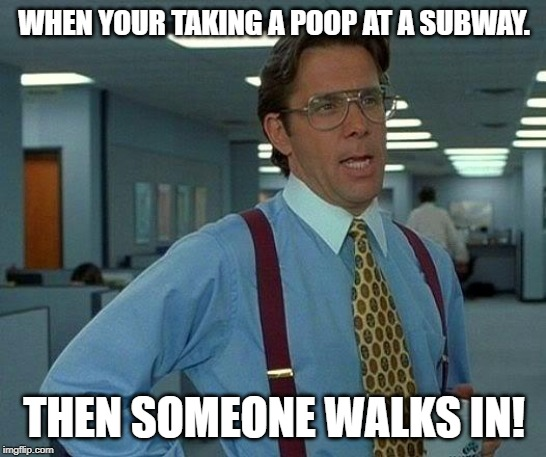 That Would Be Great | WHEN YOUR TAKING A POOP AT A SUBWAY. THEN SOMEONE WALKS IN! | image tagged in memes,that would be great | made w/ Imgflip meme maker