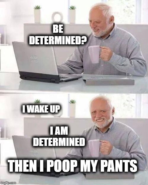 Determine to do your Best | BE DETERMINED? THEN I POOP MY PANTS I WAKE UP I AM DETERMINED | image tagged in memes,hide the pain harold,determination,poop,incontinence,positive thinking | made w/ Imgflip meme maker