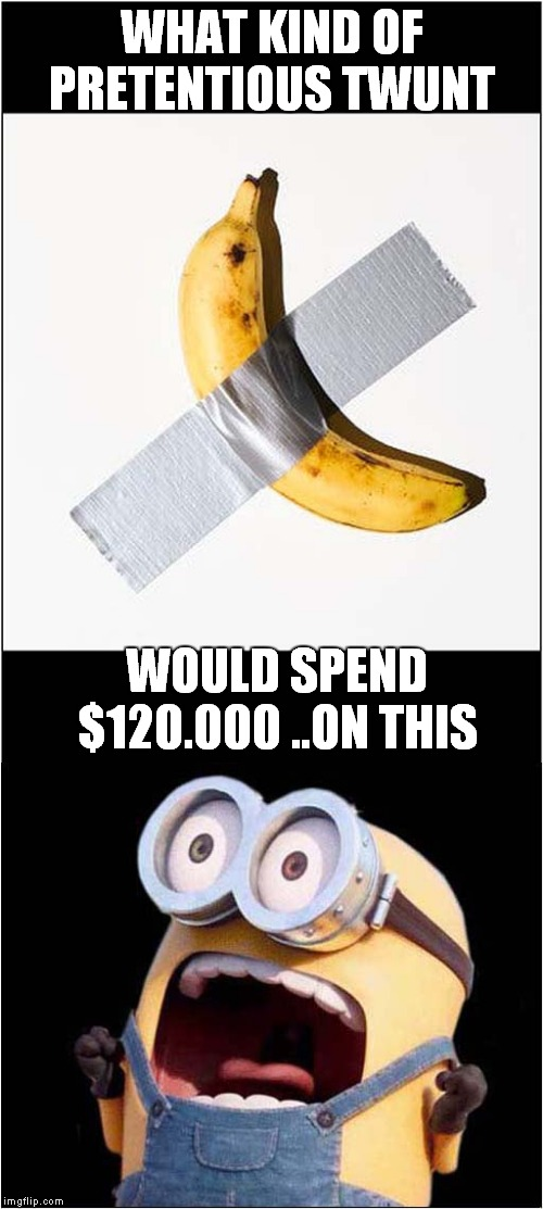 Pretentious Banana |  WHAT KIND OF PRETENTIOUS TWUNT; WOULD SPEND $120.000 ..ON THIS | image tagged in fun,banana,art | made w/ Imgflip meme maker