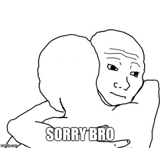 Bro hug | SORRY BRO | image tagged in bro hug | made w/ Imgflip meme maker
