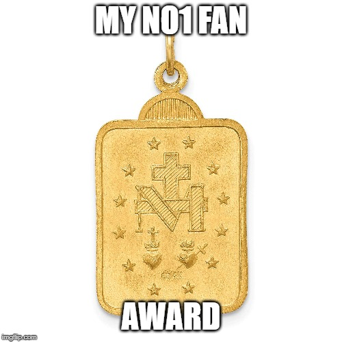 no1 fan |  MY NO1 FAN; AWARD | image tagged in top,fans,gold medal | made w/ Imgflip meme maker