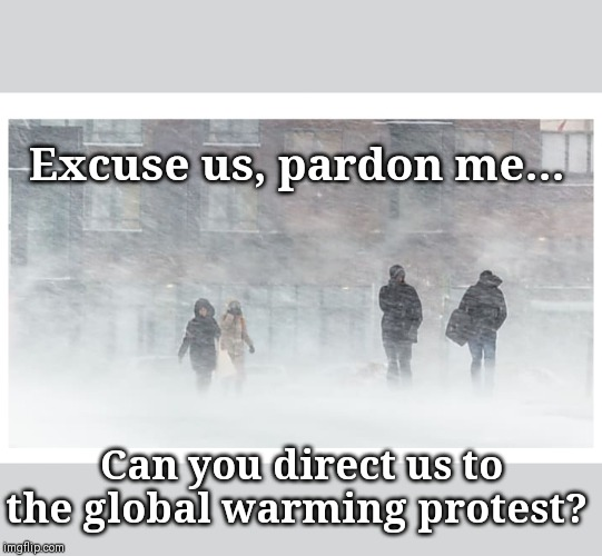 Liberal geniuses... yes, this really happens! |  Excuse us, pardon me... Can you direct us to the global warming protest? | image tagged in climate change | made w/ Imgflip meme maker