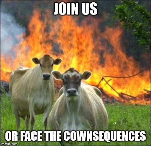 Evil Cows Meme |  JOIN US; OR FACE THE COWNSEQUENCES | image tagged in memes,evil cows | made w/ Imgflip meme maker