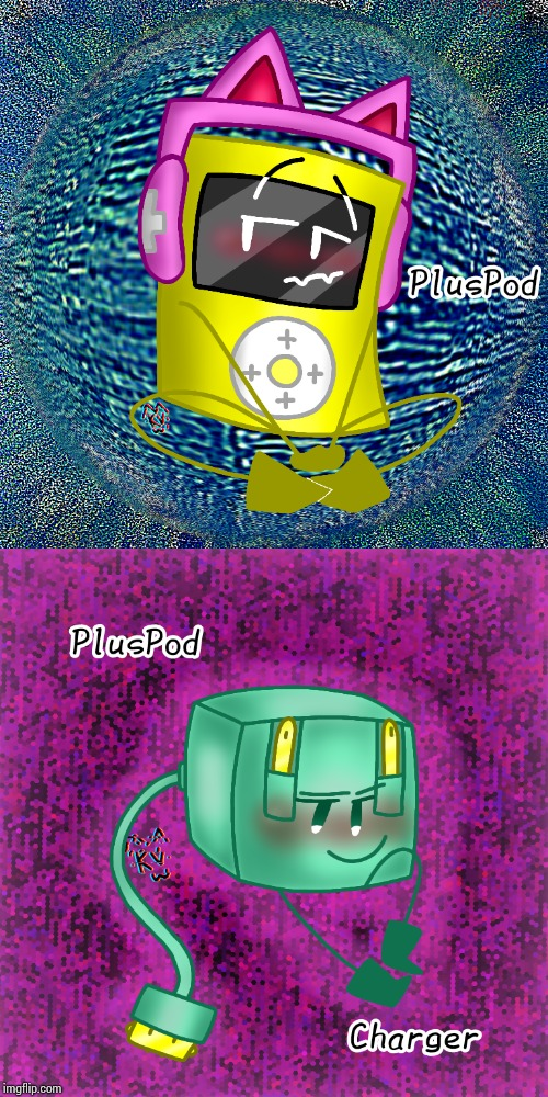 These are two new object characters, PlusPod and PlusPod Charger. They don't get along | image tagged in oc,ocs,drawing,drawings | made w/ Imgflip meme maker