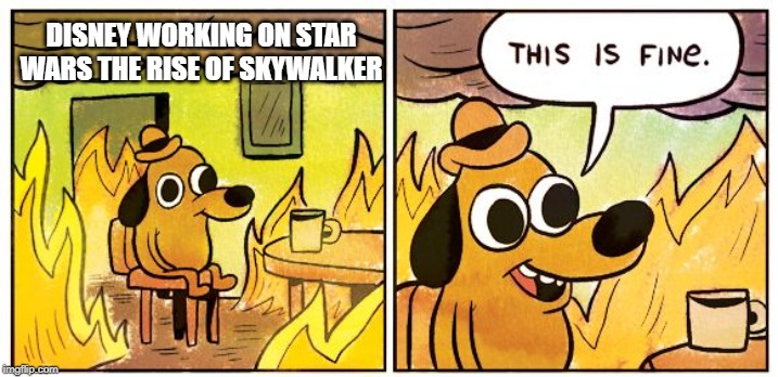 This Is Fine |  DISNEY WORKING ON STAR WARS THE RISE OF SKYWALKER | image tagged in this is fine dog,memes,fun,star wars,disney | made w/ Imgflip meme maker