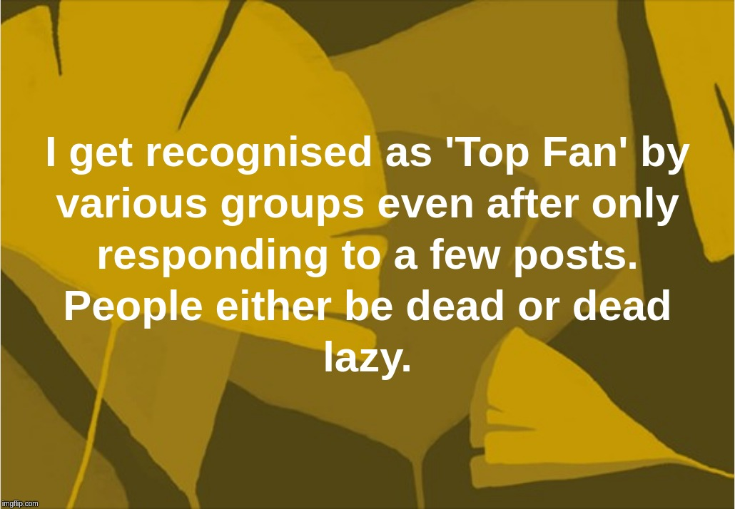 I get recognised as 'Top Fan' by various groups even after only responding to a few posts. People either be dead or dead lazy. | image tagged in top,fan,facebook,dead,lazy | made w/ Imgflip meme maker